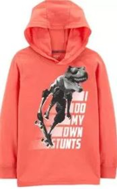 Kid Boy Dinosaur Snow Yarn Hooded Tee