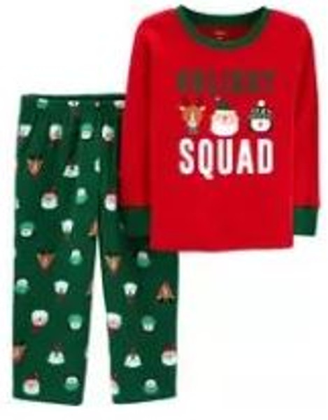 2-Piece Kid Christmas Cotton & Fleece PJs