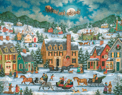 Traditional village scene showing santa and reindeer in the sky.