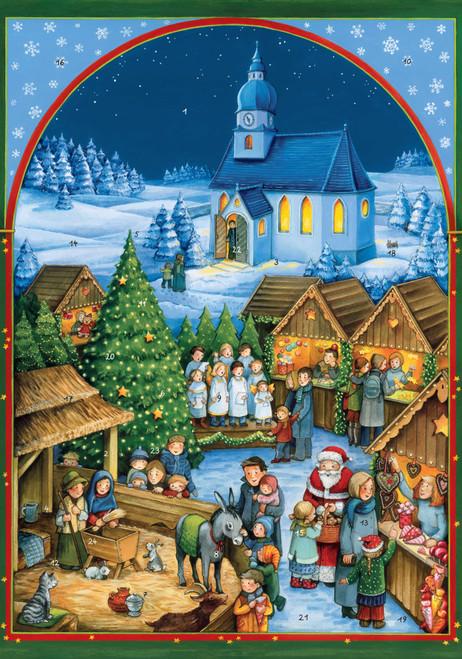 church Christmas market advent calendar