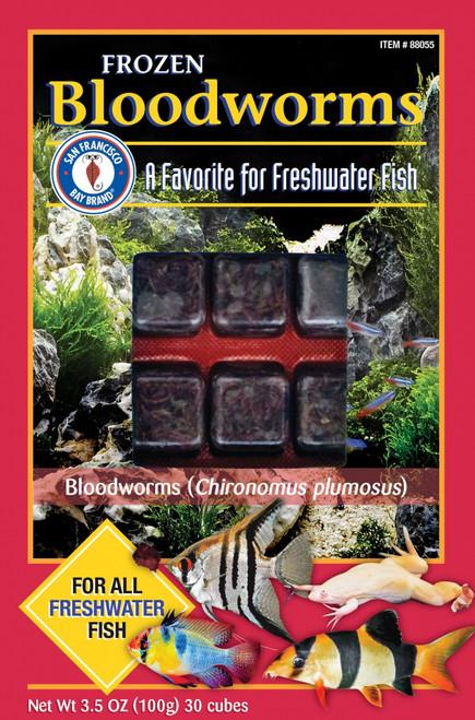 San Francisco Bay Brand Frozen Bloodworms Mini Fish Food 30 Cubes 3.5oz