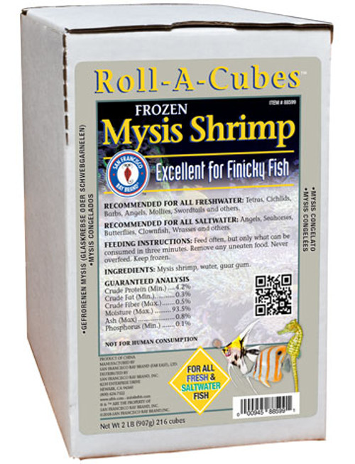 San Francisco Bay Frozen Mysis Fish Food Roll 2lb