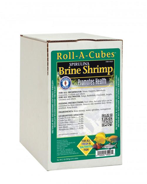 San Francisco Bay Frozen Spirulina Brine Shrimp Fish Food Roll 2lb