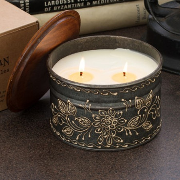 Himalayan Trading Post Ancient Philosophy 2-Wick Hand Painted Tin Candle