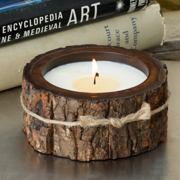 Himalayan Trading Post Mountain Forest Small Tree Bark Pot Candle