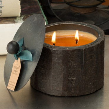 Himalayan Trading Post Pistachio 2-Wick Small Dark Wooden Barrel Candle