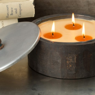Himalayan Trading Post Peony 3-Wick Large Dark Wooden Barrel Candle