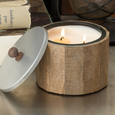 Himalayan Trading Post Peony 2-Wick Small Natural Wooden Barrel Candle