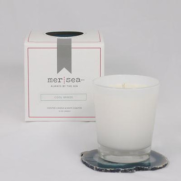 Mer Sea Afternoon Walk Boxed Candle With Agate Coaster