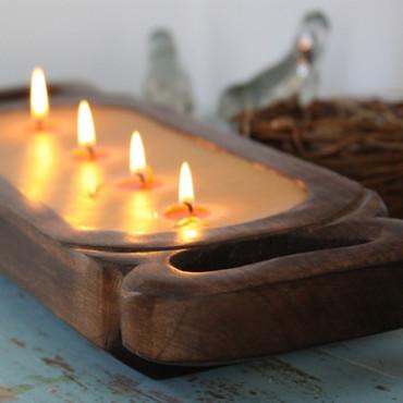 "Himalayan Trading Post Rain Barrel 19"" Wooden Candle Tray"