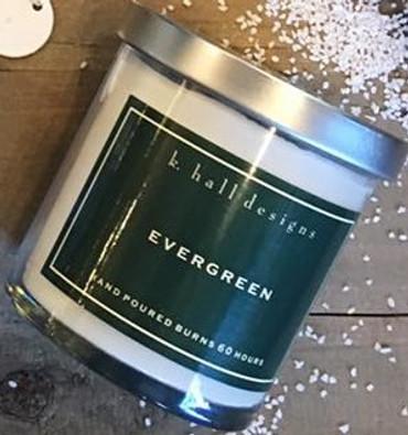 K. Hall Designs Evergreen Jar Candle Holiday