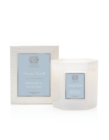 Manufacturer's Description:Introducing our new Hexagonal 9oz Candle. Our signature soft white glass, filled with our soy-paraffin wax blend, results in 60 hours of beautifully scented illumination. Packaged in a luxe hinged box, embellished with a pearlescent croc texture. Each decorative box includes a set of Antica's signature matches.  Net Wt.: 9 oz.  Fragrance Notes: A beautiful fragrance inspired by the allure of the ocean and its captivating ambiance. Fresh saltwater notes blend with soft jasmine and lavender while crisp bergamot adds a glistening effervescence. Soft white musk and lush oak moss add warmth and complete this captivating scent.  Fragrance Family: soft
