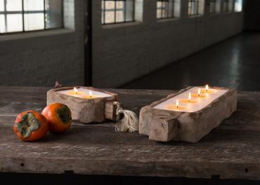 Himalayan Trading Post Tobacco Bark 44oz Driftwood Candle Tray