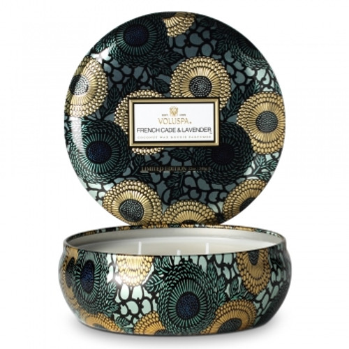 Voluspa Japonica Collection French Cade & Lavender Limited Edition Three Wick Tin Candle