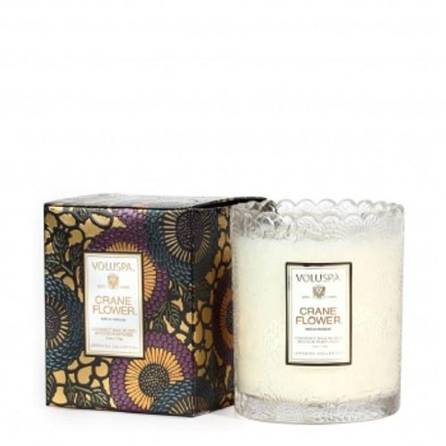 Voluspa Japonica Collection Limited Edition Crane Flower Scalloped Edge Glass Candle