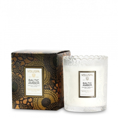 Voluspa Japonica Collection Baltic Amber Limited Edition Scalloped Edge Glass Candle