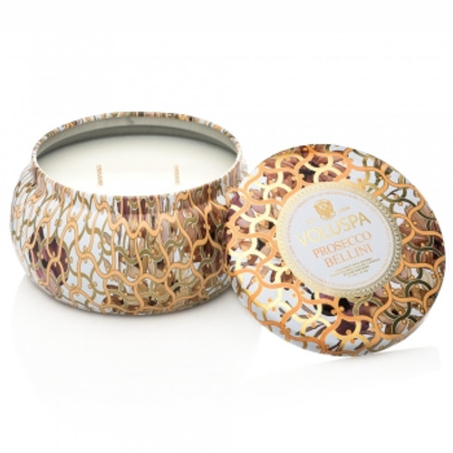 Voluspa Maison Blanc Collection Prosecco Bellini Two Wick Tin Candle