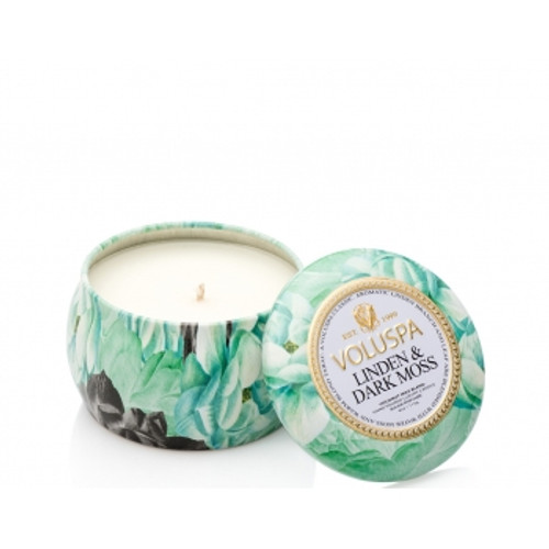 Voluspa Maison Jardin Collection Linden & Dark Moss Travel Tin Candle
