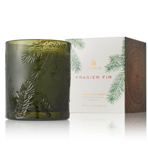 Thymes Frasier Fir Green Moulded Glass Collection Candle
