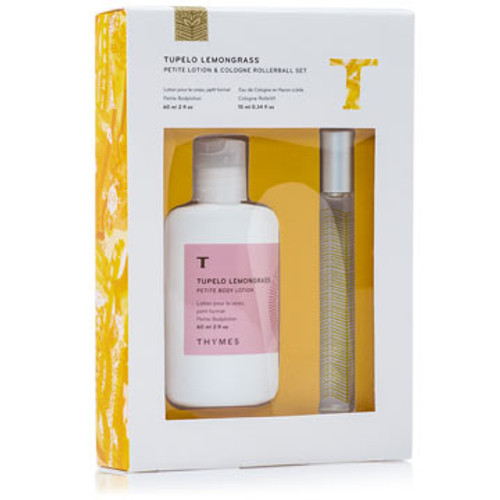 Thymes Tupelo Lemongrass Collection Petite Body Lotion & Rollerball Set