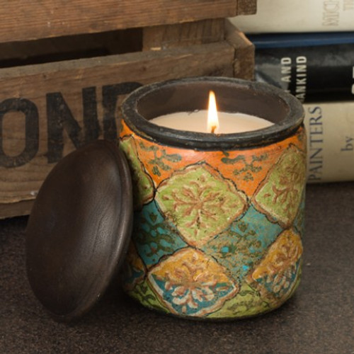 Himalayan Trading Post Jaipur Terracotta Bougainvillea Flora Hand Painted Candle