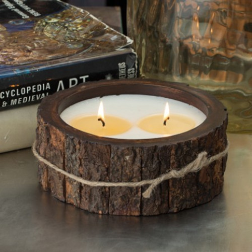 Himalayan Trading Post Tobacco Bark 2-Wick Medium Tree Bark Pot Candle