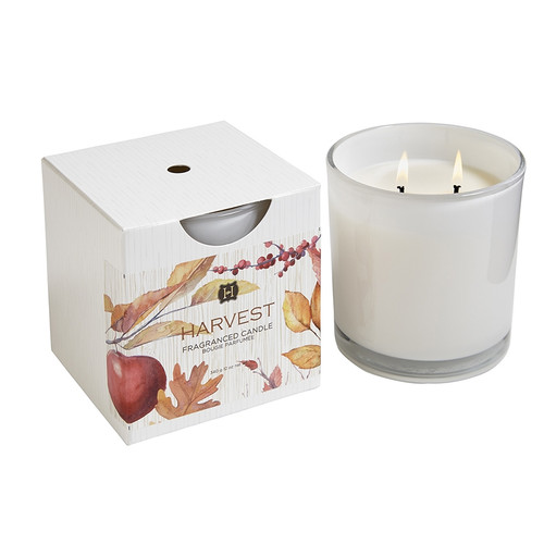 Hillhouse Naturals Autumn Harvest 2-Wick White Glass Boxed Candle