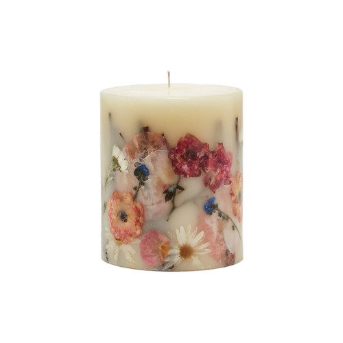 Rosy Rings Apricot & Rose Botanical 4.5 x 5.5 Pillar Candle