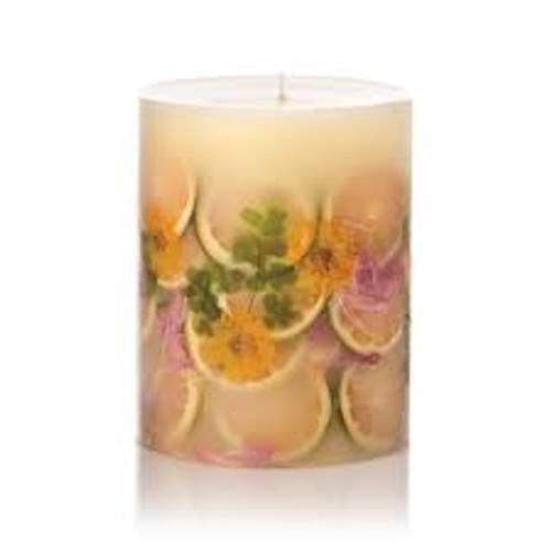 Rosy Rings Lemon Blossom & Lychee Botanical 4.5 x 5.5 Pillar Candle