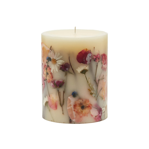 "Rosy Rings Signature Collection Apricot & Rose Botanical 5"" x 6.5"" Pillar Candle"