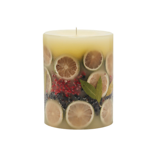 "Rosy Rings Signature Collection Bay Garland Botanical 5""x 6.5"" Pillar Candle"