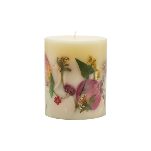 """Rosy Rings Signature Collection Lemon Blossom & Lychee Botanical 4.5"""" x 5.5"""" Pillar Candle"""
