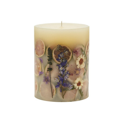 "Rosy Rings Signature Collection Roman Lavender Botanical 5"" x 6.5""Pillar Candle"