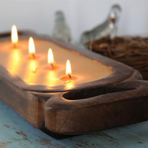 "Himalayan Trading Post Tobacco Bark 19"" Wooden Candle Tray"