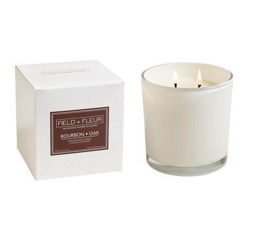Hillhouse Naturals Bourbon Oak White Glass 2-Wick Candle