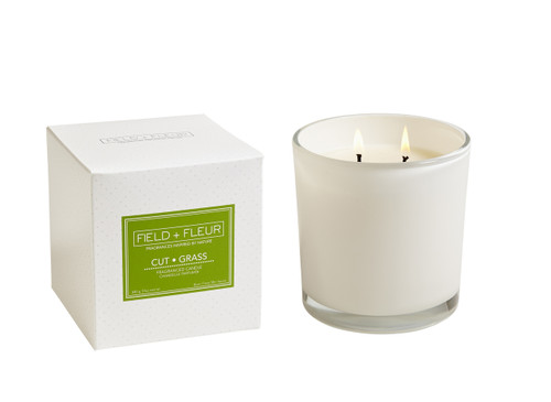 Hillhouse Naturals Cut Grass White Glass 2-Wick Candle