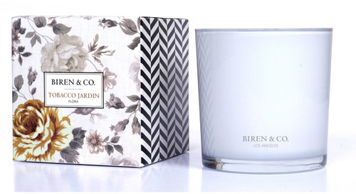 Biren & Co Tobacco Jardin Boxed Candle Flora Collection