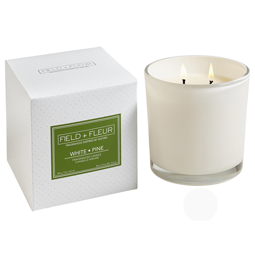 Hillhouse Naturals Field & Fleur White Pine 2-Wick Glass Candle Holiday