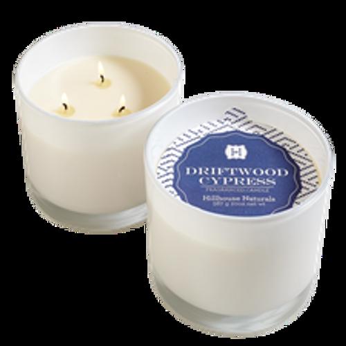 Hillhouse Naturals Driftwood Cypress 3-Wick Glass Candle