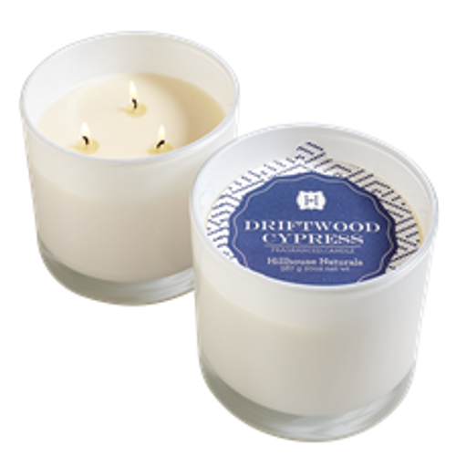 Hillhouse Naturals Driftwood Cypress 3-Wick Glass Candle