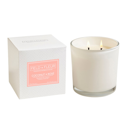 Hillhouse Naturals Coconut Rose 2-Wick Glass Candle