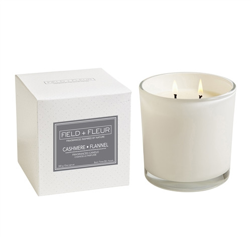 Manufacturer's Description:  Cozy up to this luxurious scent inspired by the pure softness of cashmere and the classic mens suiting fabric, grey flannel. Opening with a distinctive coolautumn air note, the heart of this fragrance features exotic davana petals, transparent marigold and cotton blooms. Black musk, cashmeran and textured flannel accords make for a warming, sophisticated base. 12oz. 2 wick candle in bamboo wrapped glass. Burn time 85+ hours. Made in the USA  Net Wt.: 12 oz.  Fragrance Notes: exotic davana petals, transparent marigold and cotton blooms. Black musk  Fragrance Family: warm