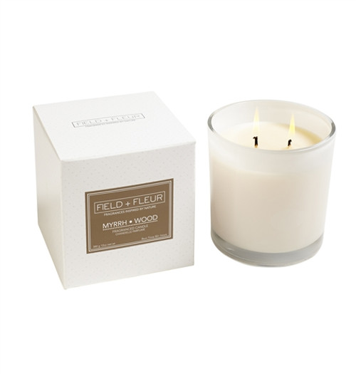 Manufacturer's Description:  This sophisticated and elegant fragrance layers eartly patchouli and myrrh with warm amber and sandalwood. Burn time 85+ hours. Made in the USA.   Net Wt.: 12 oz.  Fragrance Notes:warm amber and sandalwood  Fragrance Family: eartly