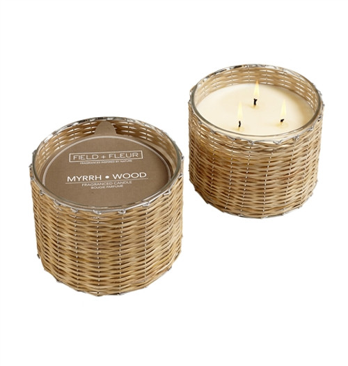 Manufacturer's Description:  This sophisticated and elegant fragrance layers eartly patchouli and myrrh with warm amber and sandalwood. Burn time 100+ hours. Made in the USA.  Net Wt.: 21 oz.  Fragrance Notes:warm amber and sandalwood  Fragrance Family: eartly