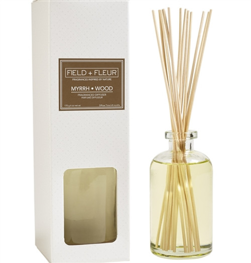 Manufacturer's Description: This sophisticated and elegant fragrance layers eartly patchouli and myrrh with warm amber and sandalwood. Diffuse time 3-4 months. Made in the USA.  Net Wt.: 6 oz.  Fragrance Notes: layers eartly patchouli and myrrh with warm amber and sandalwood  Fragrance Family: warm