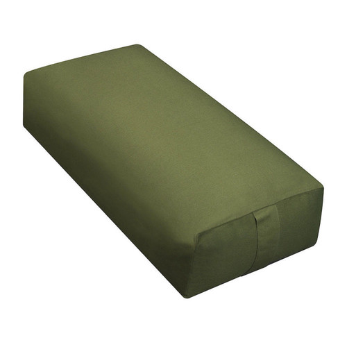 Yoga Supportive Rectangular Sunbrella Canvas Regatta Yoga Meditation Bolster Zen Pillow Zafu  sunbrella spectrum cilantro ykk zipper  24'' long x 6'' high x 12'' wide Removable cover for easy washing 100% cloth insert Rectangular, oblong shape with handles on both ends