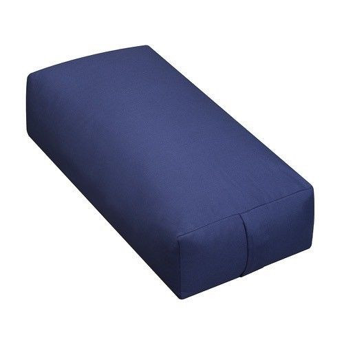 Yoga Supportive Rectangular Sunbrella Spectrum Dove Yoga Meditation Bolster Zen Pillow Zafu  sunbrella spectrum indigo ykk zipper  24'' long x 6'' high x 12'' wide Removable cover for easy washing 100% cloth insert Rectangular, oblong shape with handles on both ends