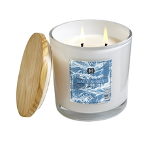 Hillhouse Naturals Field + Fleur Salt & Sea White Glass Candle 12oz