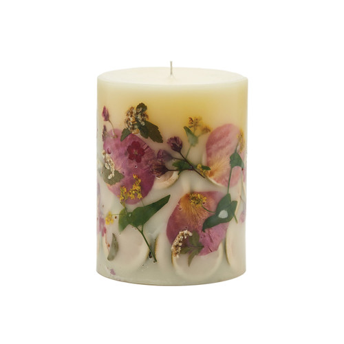 """Rosy Rings Signature Collection Lemon Blossom & Lychee Botanical 5""""x 6.5"""" Pillar Candle"""