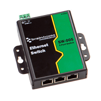 Brainboxes SW-005 Unmanaged network switch Fast Ethernet 10/100 Black Green network switch SW-005